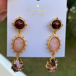 Kate Spade ♠️ Pink Dangle Druzy Stone Earrings